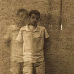 his quiet shadow (Vasilis Amir) Tags: longexposure boy portrait motion blur monochrome sepia moving bokeh ghost move transparency transparent icm twofaces أمير abstractportrait intentionalcameramovement mygearandme vasilisamir
