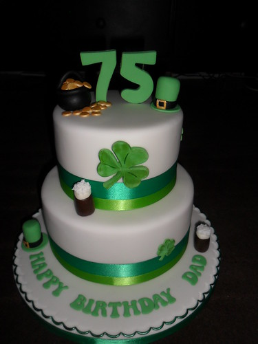 Wondrous Irish 75Th 2 Tier Clover Guiness Happy Birthday Cake A Photo On Personalised Birthday Cards Veneteletsinfo