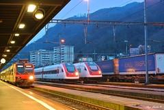 Parata serale (Luigi Basilico) Tags: night view confine transport ad rail sbb di 500 domino bahn stazione treno ffs hauptbahnof icn bahnof ferrovie cff parata chiasso svizzere federali assetto rabde variabile