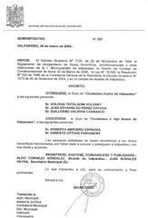 Decreto Nº357 de la Alcaldía de Valparaíso de fecha 30 de marzo de 2006 por el que se otorga el Título Honorífico de Ciudadano Ilustre de Valparaíso.