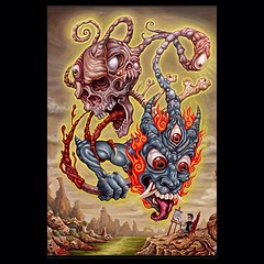 """Flying Saucers"" 30x40 acrylic on canvas, did some of it at a tattoo convention in 2010 in miami, original available w black gothic frame email me if interested tat2pooch@bellsouth.net #poochart #skull #skullpainting #demon #demonpainting #surrealart"