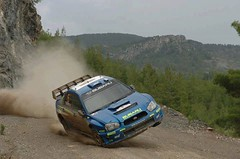 On two wheels at the edge of a cliff? #Petter #Solberg has got balls of steel. #swrt #rally #wrc (DIrally) Tags: rally subaru impreza wrx sti rallycross dirtyimpreza