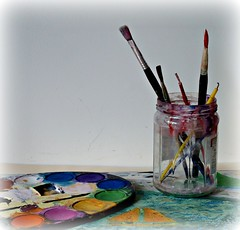 In a Jar (sallyNZ) Tags: brushes jar paints kiddieart scavenger10