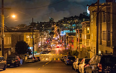 Night Vision (DobingDesign) Tags: sanfrancisco california road street city houses trafficlights color cars architecture night clouds gold lights us unitedstates cloudy citylife streetlife nighttime housing streetfurniture colourful distance dwellings telegraphwires nightcolours streettrees