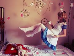 Wonderland (Neon Lilith) Tags: blue cards flying dress alice surreal floating levitation wonderland