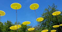 - light installation II - (Jac Hardyy) Tags: blue light sky sun sunlight reflection yellow licht himmel gelb installation blau disc sonne reflexion discs lichtspiel scheibe sonnenlicht lichtspiele scheiben