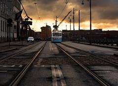 On track (ordjuret) Tags: road sunset sky sun building car clouds gteborg crane gothenburg tracks tram rails asphalt