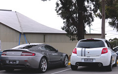 Aston Martin V8 Vantage Sitting Pretty With La Gordini (KHFotographie) Tags: renault british v8 aston astonmartin vantage gordini renaultsport renaultsportclio v8vantage ozrenaultsport clio200 renaultaustralia gordiniedition cliox85