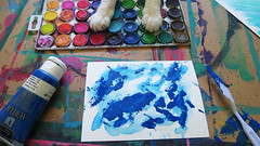Day 1 - In Progress (KristinVictoria) Tags: blue light white art water colors cat silver dark 1 rainbow kitten artist day colours artistic knife blues progress days astrid day1 inprogress create rainbows paws pallet helper 100dayproject therapeutic100 kvart100