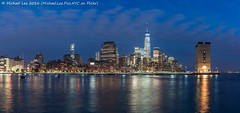 Pier 40 View (DSC07654-Pano) (Michael.Lee.Pics.NYC) Tags: longexposure panorama newyork night twilight cityscape sony worldtradecenter hudsonriver bluehour lowermanhattan pier40 onewtc a7rm2 voigtlandernoktonclassic35mmscf14