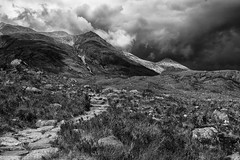 Path to the Storm (1 of 1) (littlenorty) Tags: mountain landscape scotland blackwhite europe unitedkingdom type glentorridon coirenanclach nikond7200