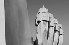 CASA MILÀ (James Ian L.A.) Tags: barcelona spain lumix lx100 panasonic gaudi casa mila black white