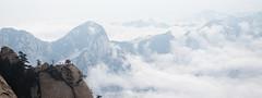 Huashan (Premouilong) Tags: chine china huashan montagne mountain panorama blue grey bleu gris large wide cloud nuage altitude sommet pic peak rock roche