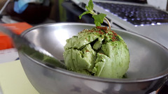 Green-tea ice cream (Roving I) Tags: metal mint computers vietnam icecream dining laptops greentea cafes danang cabanon sprigs macbookpro silverbowls