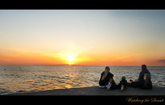 Watching the Sunset (Poocher7) Tags: family sunset portrait lake ontario canada beautiful reflections children pier pretty watching momanddad peaceful content ripples lovely tranquil enjoyment bouys lakehuron grandbend familytime sisterandbrother