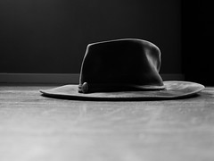 I should have been a cowboy! (Nicolas -) Tags: light shadow bw france sol hat leather cowboy floor lumire nb ombre chapeau cuir yvelines nicolasthomas
