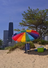 Preparations (Ctuna8162) Tags: chicago tree beach skyline umbrella sand chair dune cooler buidlings northavenuebeach
