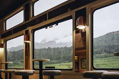 Alaska 2015 (tanjatiziana) Tags: travel windows rain alaska train view traincar cafeteria seward alaskarailroad