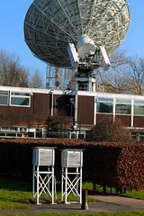 JB24 (rreyn92) Tags: uk blue sky sun snow detail rain station weather radio manchester office construction wind space bank screen science stevenson jodrell telescope research frame record jb met antenna recording important listen shado institution uom