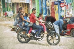 family transport (Pejasar) Tags: family five cheaptransport impasto paint art transportation motorcycle guatemala