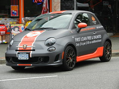 Loan Shark Mobile (knightbefore_99) Tags: commercialdrive vancouver eastvan bc 2016 car free day italian italy cool party june fiat 500 loan shark prey sad abuse