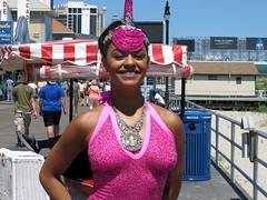 Colorful Boardwalk Woman (Multielvi) Tags: new city pink portrait woman smile costume nj atlantic shore jersey boardwalk