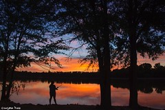 Gone fishing!  (gusdiaz) Tags: susnet lake gastonia nc north carolina rankin beautiful fish fishing spring summer verano primavera relaxing nature trees foliage amazing woman siluetas silhouette canon