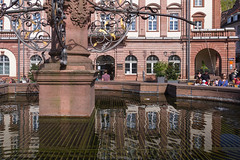 Heidelberg City Hall Reflection I (boettcher.photography) Tags: heidelberg april 2016 frhling spring boettcherphotography sashahasha reflection reflektion water wasser fountain brunnen rathaus cityhall altstadt