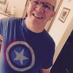 365 Year 7. Photo 179.   Super hero tee shirt week day 6.   Captain America.  Channeling my inner Chris Evans (litlesam1) Tags: square larry squareformat iphoneography instagramapp uploaded:by=instagram 365year7