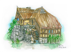 The mill of Hobbiton (CamillaDiBellaVecchi) Tags: reflection verde green mill nature water watercolor natura shire hobbit acqua mulino hobbiton riflesso acquerello contea