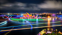 Just 4 minute.....  2/2. Colors of  Sydney Vivid 2016 (Young Ko) Tags: longexposure travel blue light sky seascape reflection yellow night clouds composition landscape interesting nikon colorful flickr awesome nightsky sydneyoperahouse sydneycircularquay sydneyvivid sydneyvivid2016