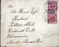 1898_env_front (Max Kade Institute for German-American Studies) Tags: family handwriting familie genealogy voss script handwritten rantoul cursive kurrent