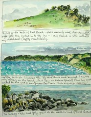 Three Skylines: Low Head (Evelyn Bach) Tags: landscape sketch head drawing diary low journal sketchbook tasmania visualjournal visualdiary penandwatercolour