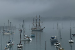 Tall Ship in the Mist (charliejb) Tags: sea mist holiday water boats coast cornwall harbour vessel yachts tallship falmouth seamist 2016 classicship kaskelot packetquays