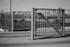 untitled (Anton Zabermach) Tags: urban blackandwhite bw film analog 35mm fence nikkor ilford fp4 nikonfe2 selfdeveloped microphen 50mmf18ai