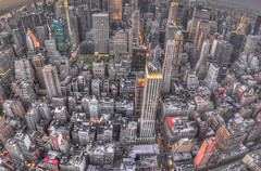Midtown Manhattan. Taken from the top of the Empire State building.  NYC, USA (Nicolas Doak) Tags: new york city nyc sunset panorama long exposure cityscape angle wide 1750 handheld tamron hdr lightroom t3i photomatix