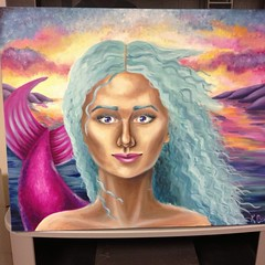 Finished Mermaid Portrait (kristenriello) Tags: ocean blue sea color art painting hair boat colorful artist eyelashes artistic drawing teal tail scales kristen oil impressionism how draw mermaid paints pointillism riello uploaded:by=flickrmobile flickriosapp:filter=nofilter