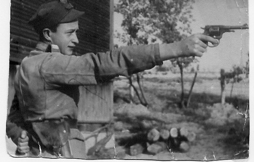 Dad with pistol, near Warsaw 1944
