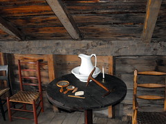 Pitcher And Wash Basin In The Loft. (dccradio) Tags: wood ny newyork history loft table wooden chair candle chairs farm mirrors upstateny brush historical pitcher comb lakeplacid washbasin historicsite northernny johnbrownfarm