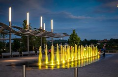 Golden Fountains (SRPater) Tags: night downtown cincinnati fountains banks
