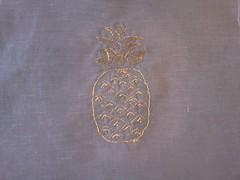 pineapple (sandySTC) Tags: thread linen embroidery metallic pineapple embroider
