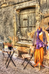 door windows streetart france color texture fashion architecture buildings doors colours stonework wallart oldbuildings streetscene structure textures weathered provence southoffrance canoneos photoart uzes cobbledstreet oldoak photomatix doorart cafescene shabbychicdecor rusticdecor canoneos550d