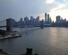 Brooklyn Bridge in clouds from Manhattan Bridge (2-3 fx) (Mr Flikker) Tags: sunset skyline clouds manhattan brooklynbridge eastriver iphone