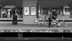 Train Bike (Spotmatix) Tags: street camera brussels urban film monochrome bike lens landscape effects iso100 belgium streetphotography places trains zeissikon transports 45mm primes polypanf
