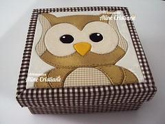 Caixa Sr Coruja. (Line Artesanatos) Tags: caixa caixademadeira caixasforradas patchembutido patchworkembutido