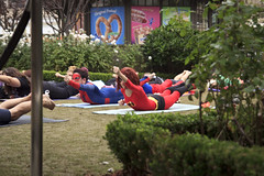Superhero Yoga (LiliCow) Tags: yoga spiderman superman supergirl batgirl superheroes hulk elastigirl spidergirl spidy superheroyoga