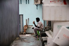 Solitary Existence (xetheaxe) Tags: life man alley singapore quiet peace indian lonely solitary bangla existence baya