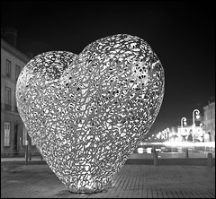 Coeur de lumière, Troyes, France (Yannick Michel) Tags: city sculpture france night rolleiflex troyes heart champagne coeur rodinal rodinal150 nuit ville planar acros aube rolleiflex35f coeurdetroyes