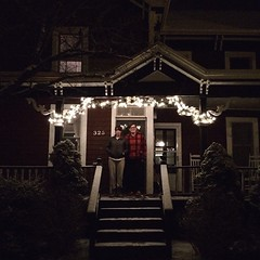 A white Christmas upstate with @midwesterngirl & @bjohnsme. It's snowing and we cooked a huge meal wearing pajamas. Best.