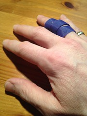 This isn't making typing any easier. (Trevor Coultart) Tags: finger knuckle injury splint